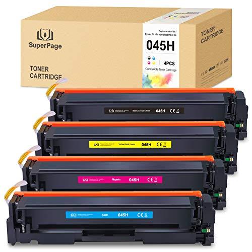 4 superpage compatibel met Canon 045 045H Multipack Toner voor Canon i-Sensys LBP611Cn LBP613Cdw MF631Cn MF633Cdw MF635Cx imageCLASS MF634Cdw MF632Cdw LBP612Cdw (1Zwart/1Cyaan/1Magenta/1geel)
