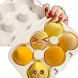 Genera - 6pcs de Esponjas de Maquillaje con Caja, Huevos de Maquillaje Baratos de Forma de Gota de Agua, Corte Oblicuo, Esponjas Facial no Absorbe Base Líquida (Amarillo)