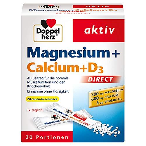 Magnesio + Calcio + Vitamina D3 - Integratore Magnesio per la funzione Muscolare e al mantenimento di Ossa - al gusto di limone - 20 bustine in microgranuli