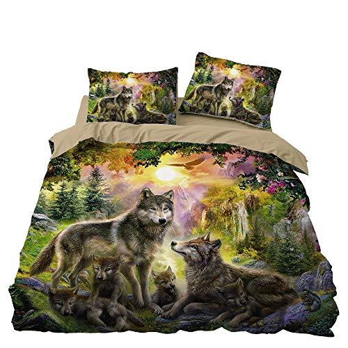 Bettwäsche-Set mit 3D-Effekt, Tierwolf, bedruckt, Bettwäsche-Set mit Kissenbezug, mehrfarbig, weicher Bettbezug für Jungen und Mädchen, Geschenk