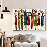 ZGZART Pintura al óleo Abstracta de Mujer Africana sobre Lienzo, Carteles escandinavos e Impresiones, Cuadros artísticos de Pared para decoración de Sala de Estar, 50x70 cm (sin Marco)