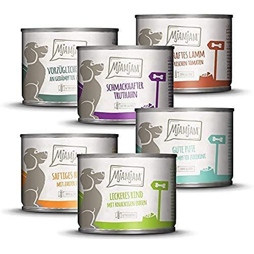 MjAMjAM - Pienso acuoso para Perros - Mix Pack II 1* Pollo & Pato, 1* Ternera, 1* Pavo y arroz, 1* Ternera con calabacín, 1* Pavo y Zanahorias, 1* Cordero 6 x 200 g