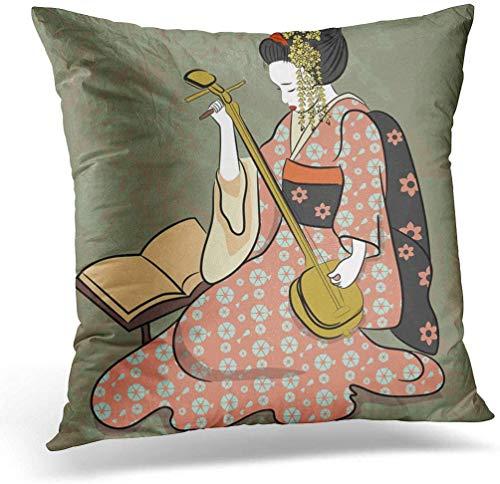 KINGAM Funda de cojín de 45 x 45 cm, diseño de Geisha Japón, clásica japonesa, antigua de dibujo, para decoración del hogar, funda de almohada cuadrada para cama sofá