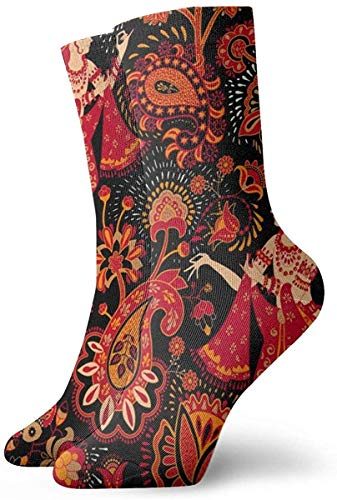 Lustige Socken für Damen, kreativ, indischer Stil, bedruckt, Sport, Athletik, 30 cm, lang, Geschenk