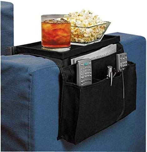 Armchair Caddy,Couch Caddy Arm Rest Organiser TV Remote Control Holder Sofa Tray Remote Caddy Chairs Sofa Couch Storage Arm Tidy Armrest Organizer Pockets Armchairs Table Storage Bag with Cup Holder