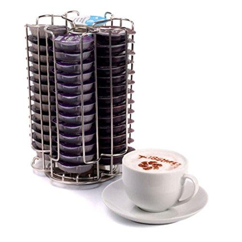 Porta Capsule Cialde da Caffè in Acciaio Inossidabile con Base Rotante Capacità: 52 cialde