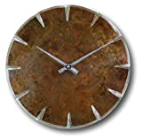 Round Copper Rustic Wall Clock 12-inch - Silent Non Ticking Gift for Home/Office/Kitchen/Bedroom/Living Room