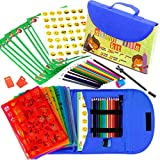 Stencil Drawing Kit for Kids w/ Carry Case - 55 pcs. w/ 280 Stencil Shapes and Colored Pencils - Arts and Crafts for Home Travel - Fun Creative STEM Toy for Girls and Boys Ages 3 to Teen
