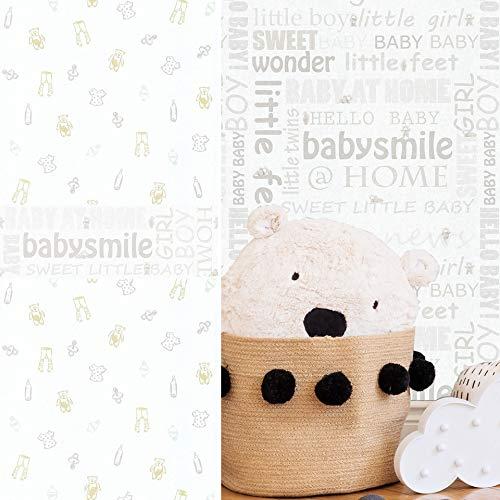 #patterned.wallpaper PVC-Freie moderne Kinderzimmer Tapete 3D Vliestapete + passende Bordüre Teddy Bär Baby Schlafzimmer