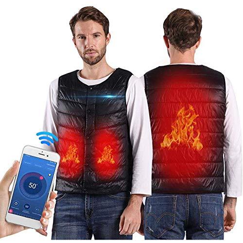ZBHGF Elektrische Vest met mobiele app-functie, opladen via USB voor mannen en vrouwen, verwarmingsjas, oververhittingsbeveiliging, wasbaar, dons, katoen, geschikt voor fietsen