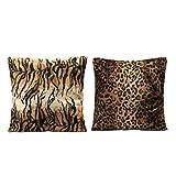 MagiDeal 2pcs Cubierta de Cojín Cebra de Leopardo Caja de Almohadilla Impresión de Animal Decoración Coche Sofá 45x45cm