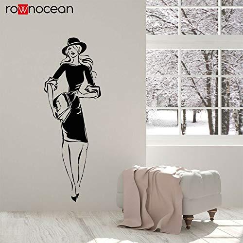 ganlanshu Fashion Store weibliche Modell einkaufen Aufkleber Vinyl wandtattoos Dekoration abnehmbare schöne mädchen wandbild tapete 75 cm x 216 cm