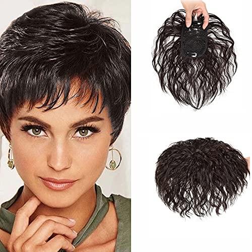 Echthaar Kurz Gelockt Topper Clip in Krone Haarteil natur Look wiglet Top Schließung für Frauen Cover weiß dünn Hair by remeehi