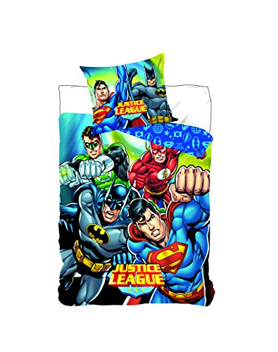 Juego de cama de Justice League Funda de edredón de 140x 200cm. Una funda de almohada 63x 63cm Poliéster–Lavable a máquina Para cama individual.