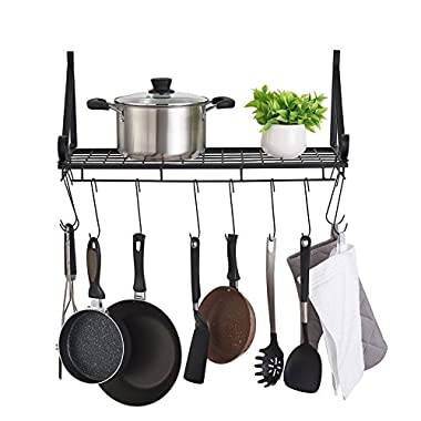 FaithLand Kitchen Wall Pot Pan Rack with 10 Hooks, Pot Holders, Kitchen Shelves Wall Mounted, Wall Storage Organizer Shelves Rack, Black