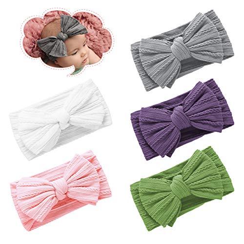 Ealicere 5 Stück Gestrickt Baby Haarbänder, 5,9 Zoll Handmade Stretchy Stirnband mit Bögen, Haarband für Infant Baby Girls