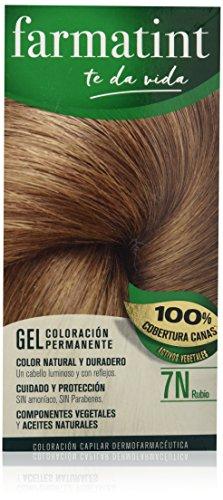 Farmatint Gel 7N Rubio | Color Natural y Duradero | Componentes Vegetales y Aceites Naturales | sin Amoníaco | sin Parabenos | Dermatológicamente Testado