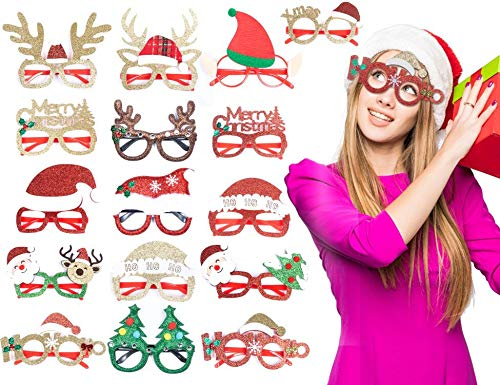 KIDPAR 16 PCS Holiday Glasses, Christmas/Thanksgiving Party Glasses Frame for Kids Adults, Fit All Sizes, Fun for Holiday and Season Themed Party, Christmas Dinner & Photos Booth