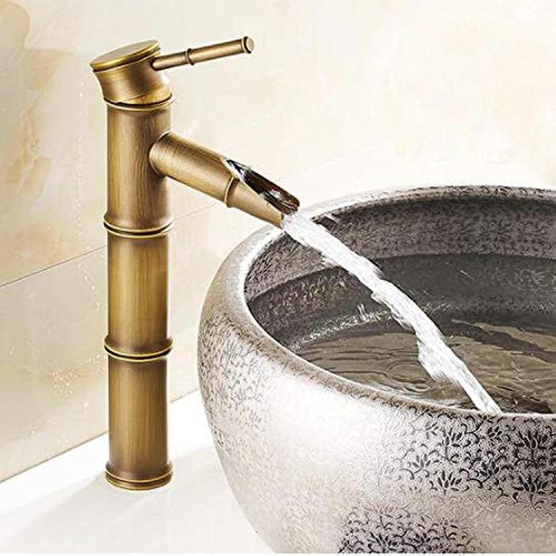 Wasserhahn Waschtischarmatur Messing Europischen Antiken Wasserfall Wasserhahn Retro Becken Bambus Heien Und Kalten Wasserhahn Einzigen Griff