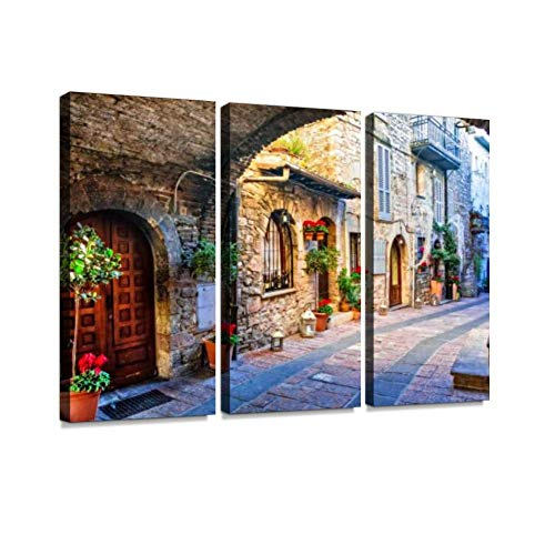 YKing1 Charming Old Street of Medieval Towns of Italy, Umbria Region Wall Art Painting Pictures Print On Canvas Stretched & Framed Artworks Modern Hanging Posters Home Decor 3PANEL