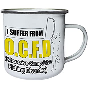 Obsessive Compulsive Fishind Disorder Retro,Tin, Enamel 10oz Mug z806e:Donald-trump