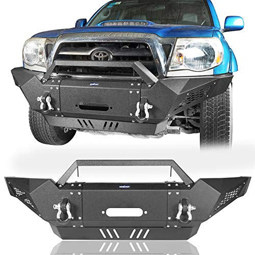 Hooke Road Tacoma Front Bumper (Solid Steel) with Winch Plate & 2×18W LED Lights Compatible with Toyota Tacoma 2005-2015 2nd Gen Pickup Truck