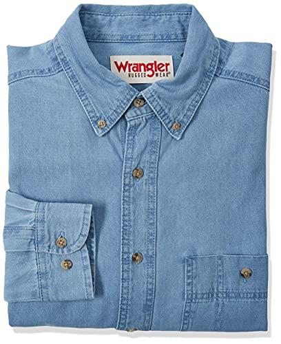 Wrangler Men's Rugged Wear Basic One-Pocket Denim Shirt, Large