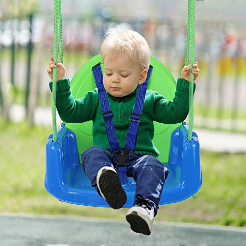 Kids Swing, Swing Seat, Detachable Handrail and Backrest, Backyard Swing for Kids, Hanging Swing for Toddler Boys Girls, Indoor Outdoor Swing Playground Equipment(B