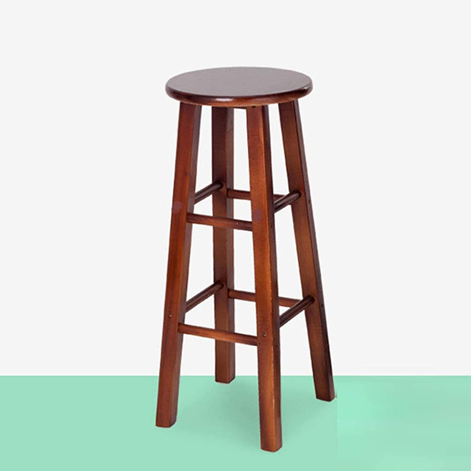Llsdls Solid Wood Bar Chair Oak Step Stool Home Bar Stool High Stool Retro Bar Cafe Modern Minimalist Bar Chair.