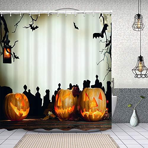 Yoliveya Cortina Ducha Impermeable,Calabaza de Halloween en Cementerio de tablones de Madera,Impresión de Cortinas baño con 12 Ganchos 150x180cm