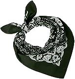 Tobeni 548 Bandana Head- Pañuelos para el Cuello de Tela 100% Algodón Unisex Color Paisley Verde Tamaño 54 cm x 54 cm