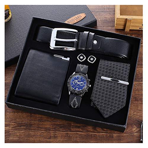 YOLANDE Mode Herren Geschenkbox-Verpackung, schwarz Uhr + Gürtel + Manschettenknöpfe + Brieftasche + Krawatte Geschenkset