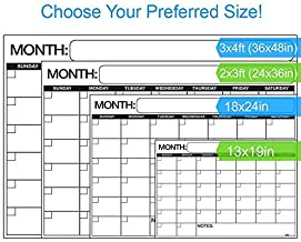 """Best EXTRA LARGE Dry Erase Wall Calendar Planner & Organizer 24"""" x 36"""" in Laminated Dry or Wet Erase Print Squares to Plan Your Whole Day - Perfect for School Classes Office Cubical Home College Dorms"""