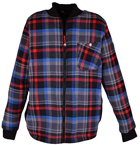 Iwea Houten jack van geruit fleece voor heren, outdoorjas, werkjas, winterjas, vrijetijdsjas, gevoerd pluche