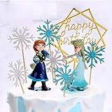 2 piezas de decoración para tartas con diseño de congelado, decoración para tartas de cumpleaños infantiles.