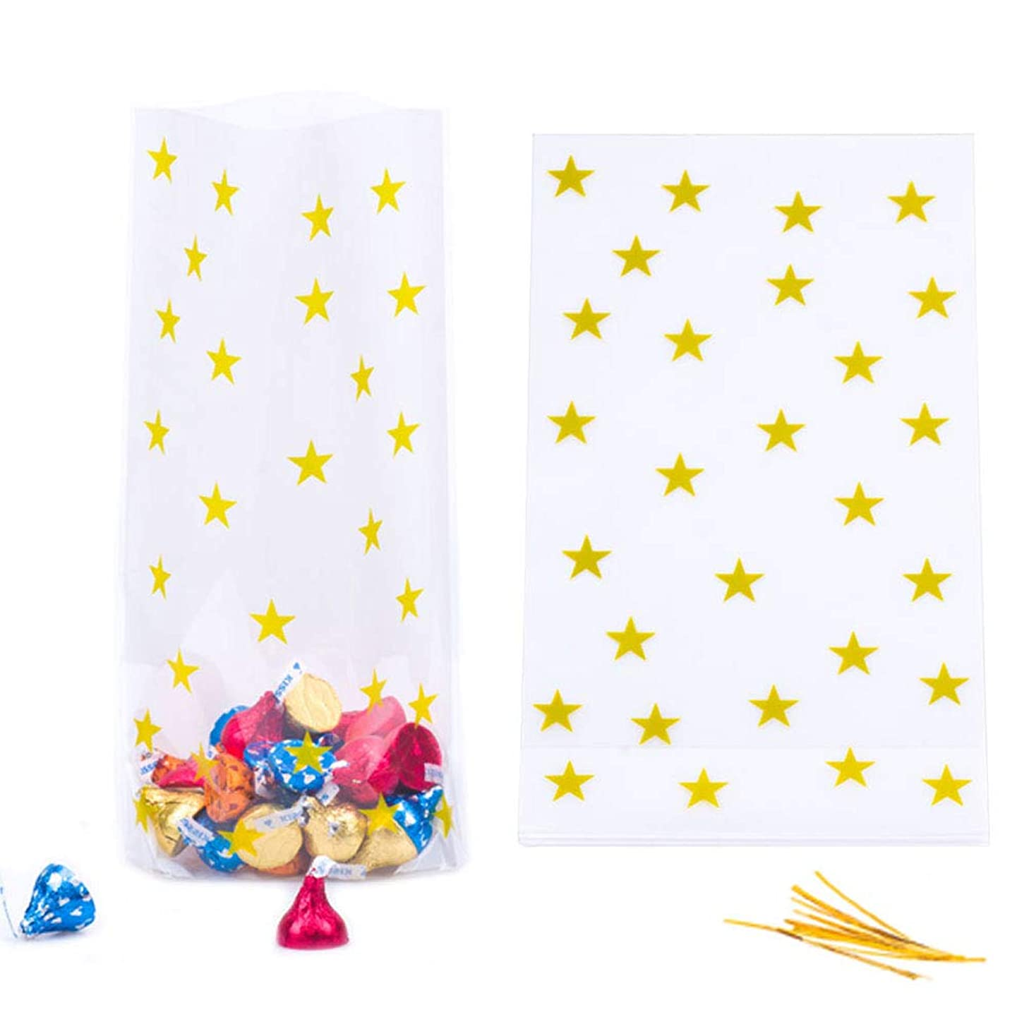 YESON Gold Star Clear Cello Bags Candy Plastic Favor cellophane Treat Bags,Pack of 50