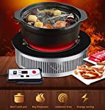 Hot Plate Double-ring Countertop Burnerfor Cooking Portable Electric Single Burner 2000W 5 Power Levels Cast-Iron Stainless Steel Silver