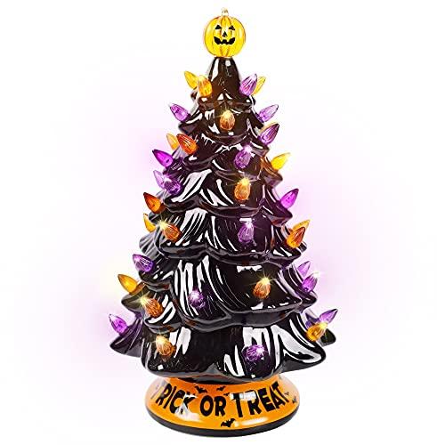 Blissun 12' Halloween Decorations Ceramic Tree, Hand-Painted Black Christmas Tree, Battery Powered...