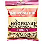 The Posh Pig Chorizo Flavoured Double Hand Cooked Premium Pork Crackling (5x45g Packets) High Protein, Low Carb