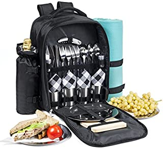 One Savvy Girl Picnic Backpack for 4 with Premium Stainless Steel Tableware - Complete 4 Person Picnic Basket Set w/Blanke...