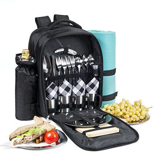 One Savvy Girl Picknickrucksack für 4 mit Edelstahl tablewarepicnic Korb gesetzt w/Decke, isolierte Lebensmittelkühltasche, Korkenzieher, Käsebrett, Servietten und mehr schwarzen und weißen Streifen