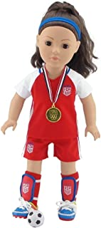 Emily Rose 18 Inch Doll Clothes for Journey Girls | World Cup USA 8 Piece 18 Inch Doll Soccer Uniform, Including Realistic...
