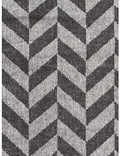 Nido Notte Italia Luxury Fringed Decorative Oversized Throw Blanket Toss Geometric Chevron Zig Zag Pattern in Shades of Dark and Light Gray