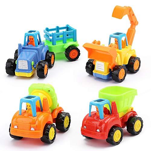 Amy&Benton Push and Go Spielzeugautos für Kinder, 4er LKWs Baufahrzeug Set Fahrzeug Spielen Spielzeug Autos für 3+ Jahre alte Kleinkinder Jungen und Mädchen