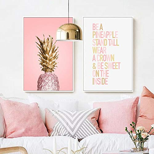 SDFSD Pink ananas Poster Plants Pineapple Wall Art Pictures Nordic Canvas Landscape Painting Modern Living Room Print Home Decoration 40 x 50 cm x 2
