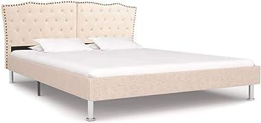 vidaXL Bed Frame Upholstered Bedroom Base Furniture Bed Headboard Sleeping Comfort Platform 183x203cm King Size Fabric Wood C