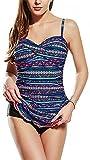Jeatyuen Women's One Piece Swimsuits Tummy Control Swimwear Ruffle Swimdress with Built in Swim Brief (Safflower,Small,Small)