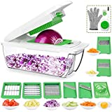 CHUGOD Vegetable Slicer Dicer Food Chopper Cuber Cutter, Cheese Grater Multi Blades for Onion Potato