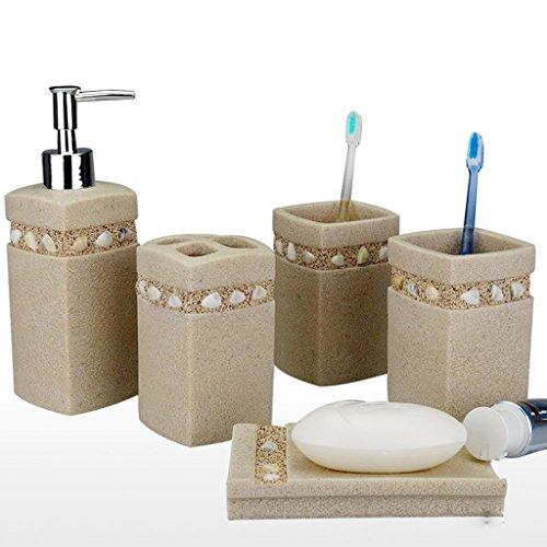 Kies-Bad fünf Sätze einfache Harz-Waschset Zahnbürstenhalter Badausstattung