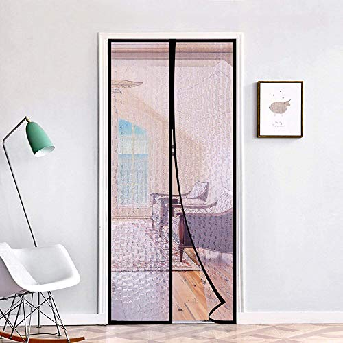 Magnetic Thermal Insulated Door Curtain 36'x96' Magnet Patio Door Cover Auto Closer Fits Doors Up to 34'x95' to Keep Warm in Winter Cool in Summer for Air Conditioner Heater Room Home Kitchen